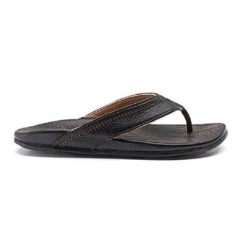 Men's Olukai Hiapo Leather Sandals, Black/Black, Size 10 - 10 d(m) us