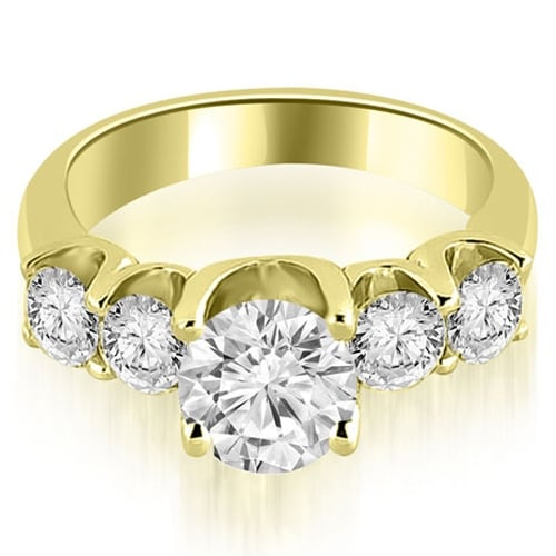1.75 cttw. 14K Yellow Gold Five Stone Floating Round Cut Diamond Engagement Ring