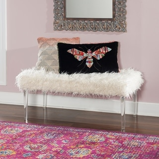 Link to Silver Orchid Kelly Fantastic Flokati Bench Similar Items in Living Room Furniture