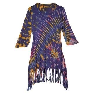 Women's Tunic Top - Tie-Dye Scoop Neck with Long Fringed Hem - Black