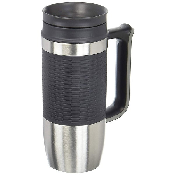 Trudeau Maison Boardroom Travel Mug, 16 Ounces, Stainless Steel-Black