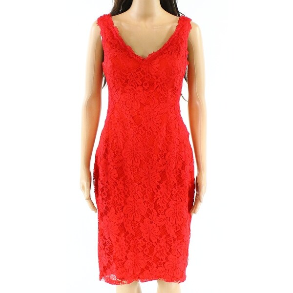 2d7dda29 Shop Xscape Red Women's Size 6 Floral Lace V-Neck Solid Sheath Dress - Free  Shipping On Orders Over $45 - Overstock.com - 27299212