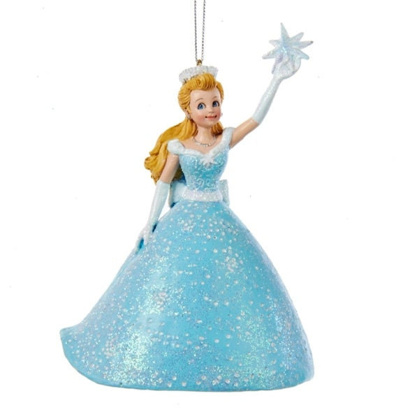 "4.5"" Ice Palace Princess in Blue Ball Gown Dress with North Star Decorative Christmas Ornaments"