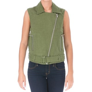 Elizabeth and James Womens Tegan Casual Vest Linen Asymmetrical