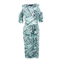 Connected Women's Belted Cold-Shoulder Sheath Dress - Sage
