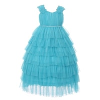 5f6b9c083 Little Girls Aqua Ruffle Tiered Rhinestone Flower Special Occasion Dress 4