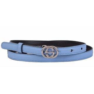 Gucci Women's 370552 Blue Leather Interlocking GG Buckle Skinny Belt 36 90