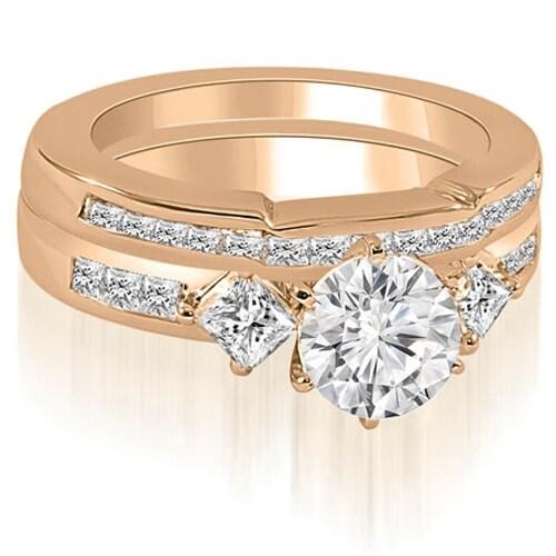 1.65 cttw. 14K Rose Gold Round And Princess Cut Diamond Bridal Set