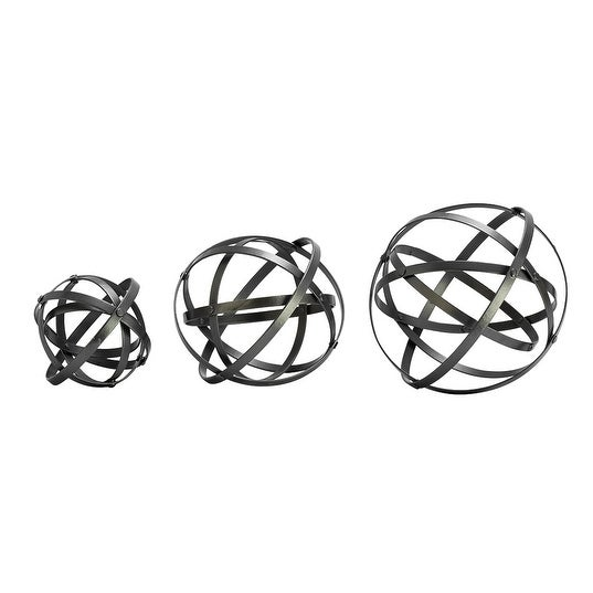 3 Piece Metallic Grey Folding Spheres Decorative Metal Band Orb Set Free Shipping On Orders Over 45 16932090