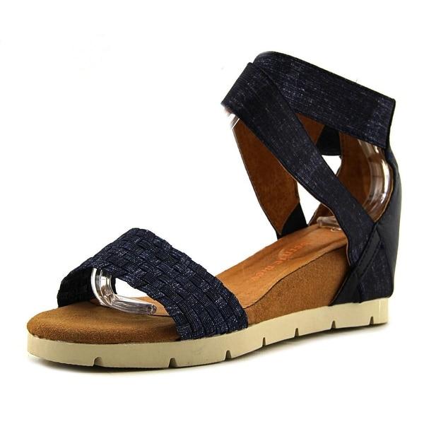 Bernie Mev. August Women Open Toe Canvas Blue Wedge Sandal