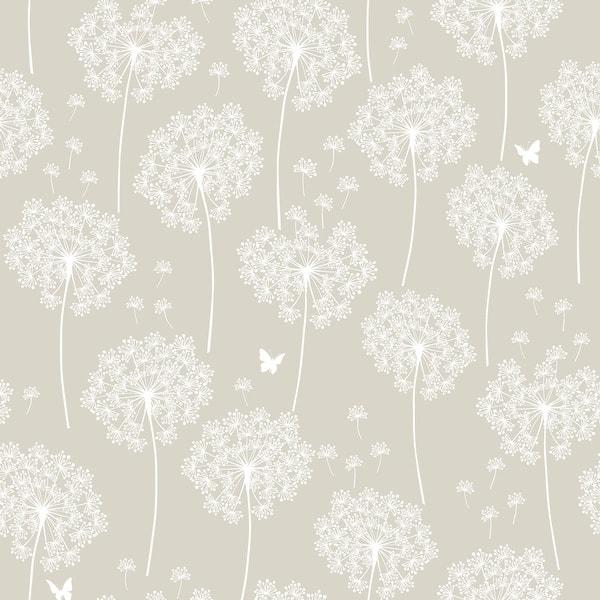 Brewster Nu1651 30 3 4 Sf Dandelion Grey Peel And Stick Vinyl Wallpaper