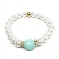 "Pearl & Aqua Quartz Joy 7"" Bracelet - Thumbnail 1"
