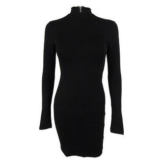 Bar III Women's Long Sleeves Mock Turtleneck Dress - Deep Black