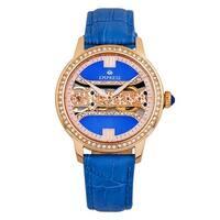 Empress Rania Mechanical Semi-Skeleton Leather-Band Watch - Blue