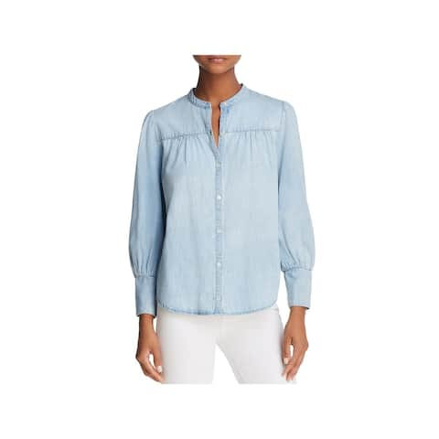 Joie Womens Button-Down Top Silk Pleated