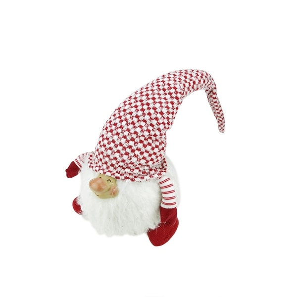 "14.75"" Red and White ""Cheerful Charlie"" Sitting Chubby Santa Gnome Table Top Christmas Figure"