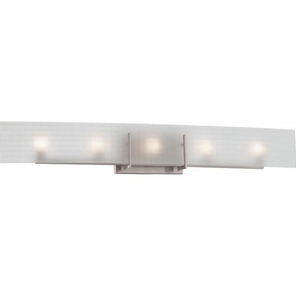 "Nuvo Lighting 60/5188 Yogi 5-Light 36"" Wide Bathroom Vanity Light with Patterned Glass Shade - Brushed nickel"