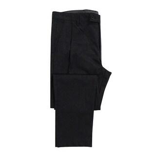 Calvin Klein Men's Tonal-Print Pleated Pants (33x32, Black) - Black - 33X32