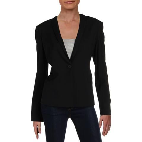 Elie Tahari Womens One-Button Blazer Wool Business Wear
