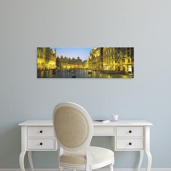 Easy Art Prints Panoramic Images's 'Grand Place Brussels Belgium' Premium Canvas Art