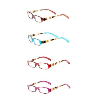Womens Striped Rectangle Reading Glasses - 4 Pair Pack - pink / brown / turquoise