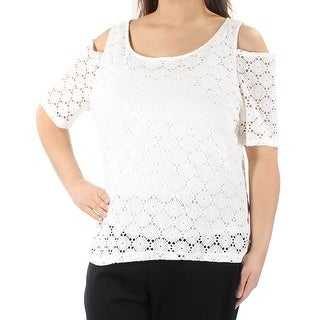 NINE WEST $69 Womens New 1059 Ivory Lace Cut Out Short Sleeve Top XL B+B