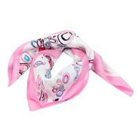 Unique Bargains Spring Fall Wear Pink White Bubble Print Neckerchief Kerchief Scarf for Women