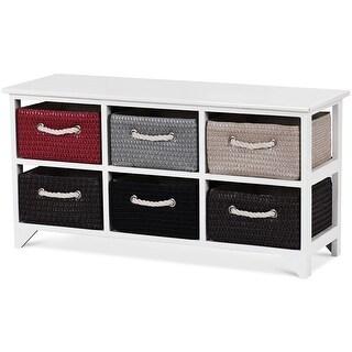 Costway Wicker Basket Storage Unit Chest Wooden Frame 6 Drawer Baskets Organizer Shelf - White