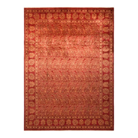 """Eclectic, One-of-a-Kind Hand-Knotted Area Rug - Orange, 9' 0"""" x 12' 2"""" - 9' 0"""" x 12' 2"""""""