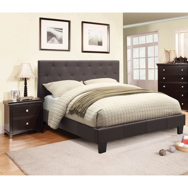 Furniture of America Perdella 2-piece Grey Low Profile Bed with Nightstand Set. Opens flyout.
