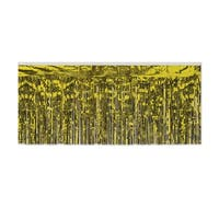 Pack of 6 Gold Hanging Metallic Fringe Drape Decorations 10'