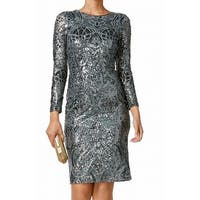 Betsy & Adam Womens Petite Sequined Sheath Dress