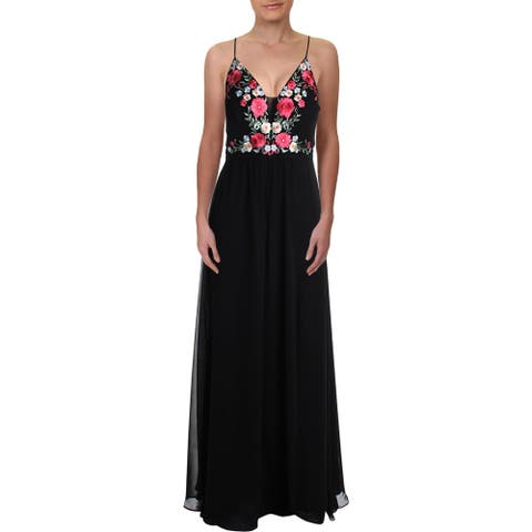 NW Nightway Womens Evening Dress Embroidered Lace-Up - Black/Multi