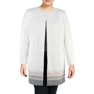 Tahari ASL Womens Plus Jacket Embroidered Zig Zag Office