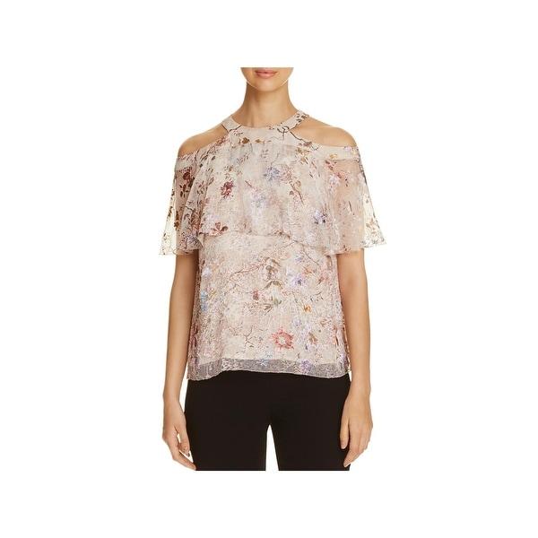 a96786eaffd3 Shop Elie Tahari Womens Genevieve Blouse Metallic Floral - Free ...