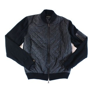 INC NEW Deep Black Mens Size Large L Quilted Full-Zip Knit Jacket