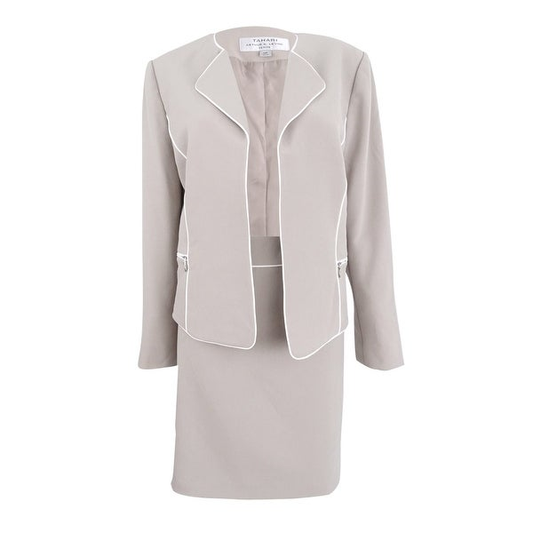 Shop Tahari Asl Womens Plus Size Piped Skirt Suit Beigeivory