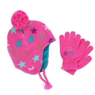 CTM® Girls' 3-6 Star Peruvian Hat with Matching Gripper Glove Set