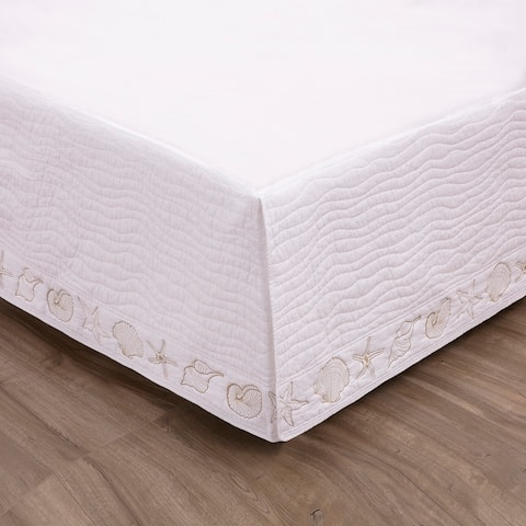 Greenland Home Fashions Coastal Seashell Quilted 18-inch Drop Bedskirt