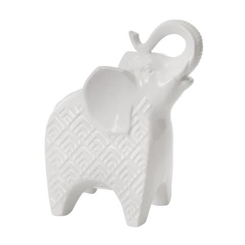 "Ceramic 9"" Elephant Bank,White - 4Wx6.5Lx8.5H"