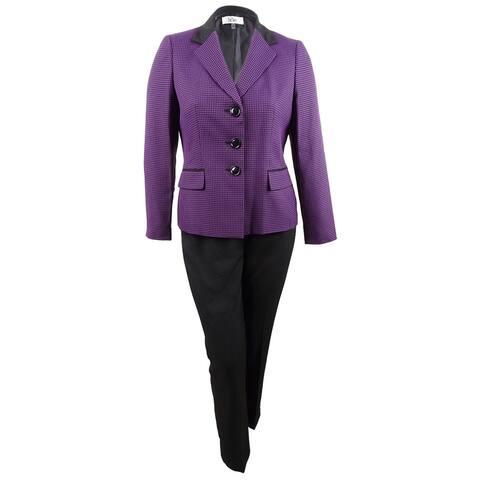 Le Suit Women's Two-Button Pin-Dot Pantsuit