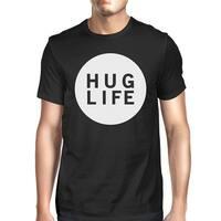 Hug Life Men's Black T-shirt Short Sleeve Simple Graphic Shirt