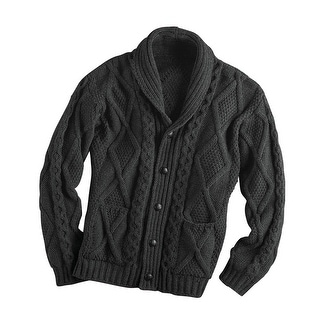 Unisex-Adult Aran Shawl Collar Cable Knit Cardigan Sweater