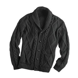 Men's Aran Shawl Collar Cable Knit Cardigan Sweater