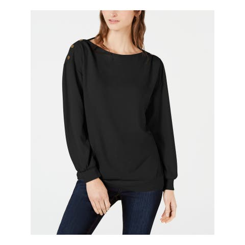 1. STATE Womens Black Belted Long Sleeve Jewel Neck Sweater Size XS