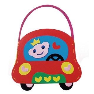 Child Red Cartoon Car Shaped Craft Foam Bag DIY Hands Bag Educational Toy