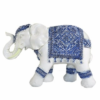 Beautiful Resin Elephant Sculpture, Blue and White