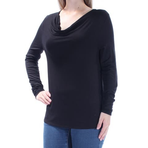 BAR III Womens Black Long Sleeve Scoop Neck Top Size: M