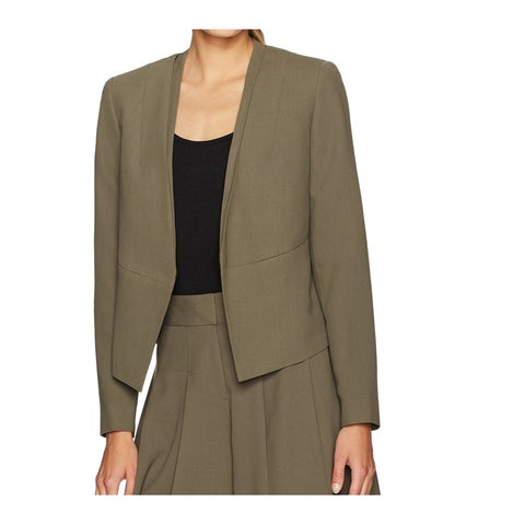 Nine West Green Women's Size 2 Crepe Kiss-Front Two-Pocket Jacket