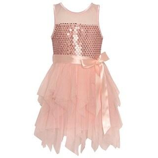 Little Girls Blush Paillettes Adorned Mesh Cascade Ruffle Dress (2 options available)